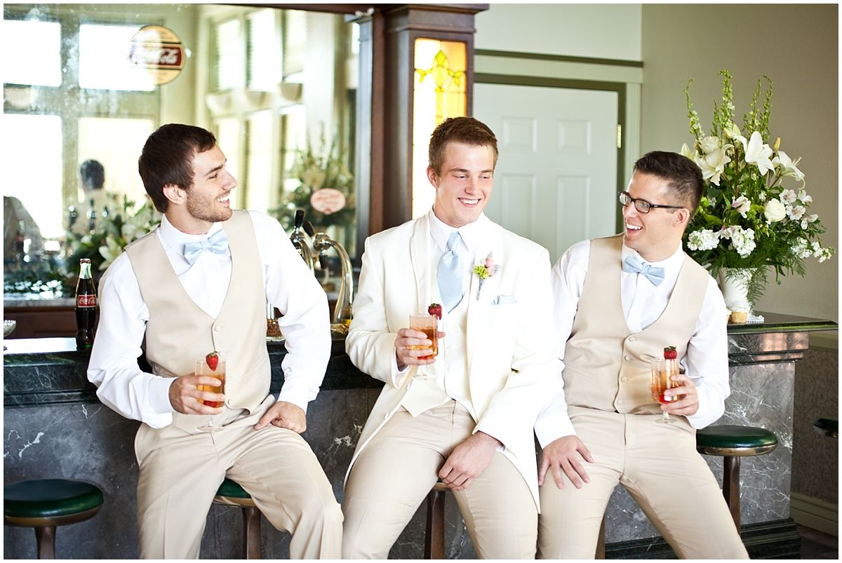 Gatsby Party Styled Shoot tan groomsmen and groom suits. Powder ...
