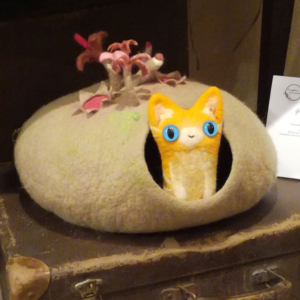 Natural felted wool cat cave by atelier nicomy cat house cat bed
