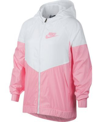 6f81627c4 Nike Big Girls Sportswear Windrunner Hooded Jacket - White/Pink L (14)