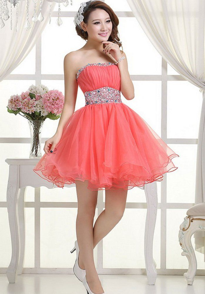 35de4b02a50e2 Image of Custom Made Watermelon Ball Gown Short Prom Dresses , Homecoming  Dresses, Short Party Dresses