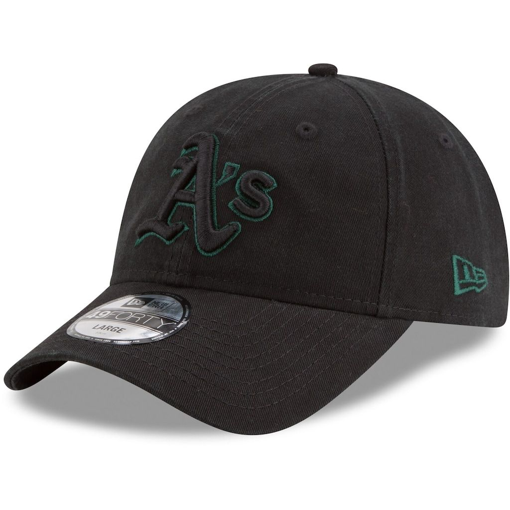 los angeles sale uk new lifestyle Men's New Era Black Oakland Athletics Core Pop 49FORTY Fitted Hat ...