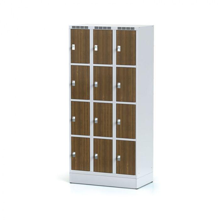 Wardrobe, 12 boxes 300 mm on the plinth, laminated door walnut …