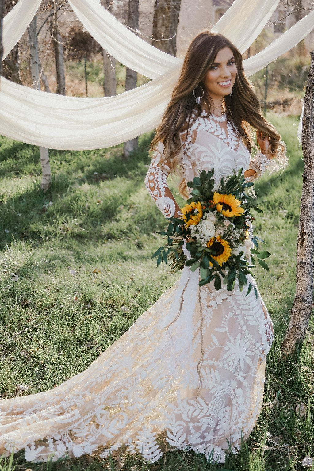 Large Sunflower Bouquet Second Hand Wedding Dresses Sunflower