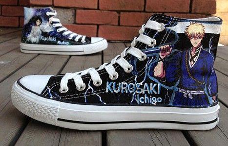 821fe8889c3738 Anime Bleach Ichigo Shoes Bleach anime hand painted shoes sneake ...