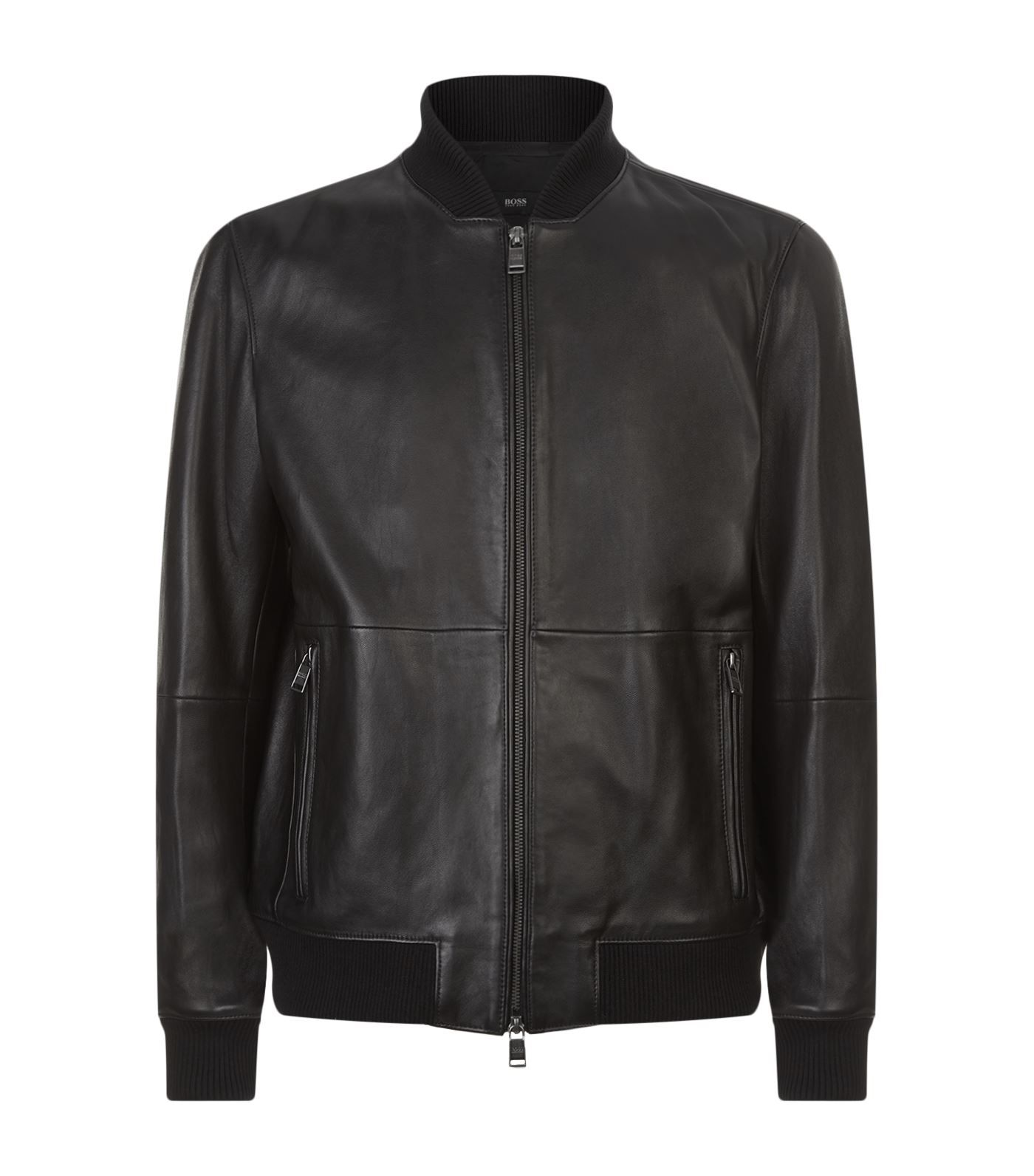 BOSS Leather Bomber Jacket in Black Erkek mont, Giyim, Mont