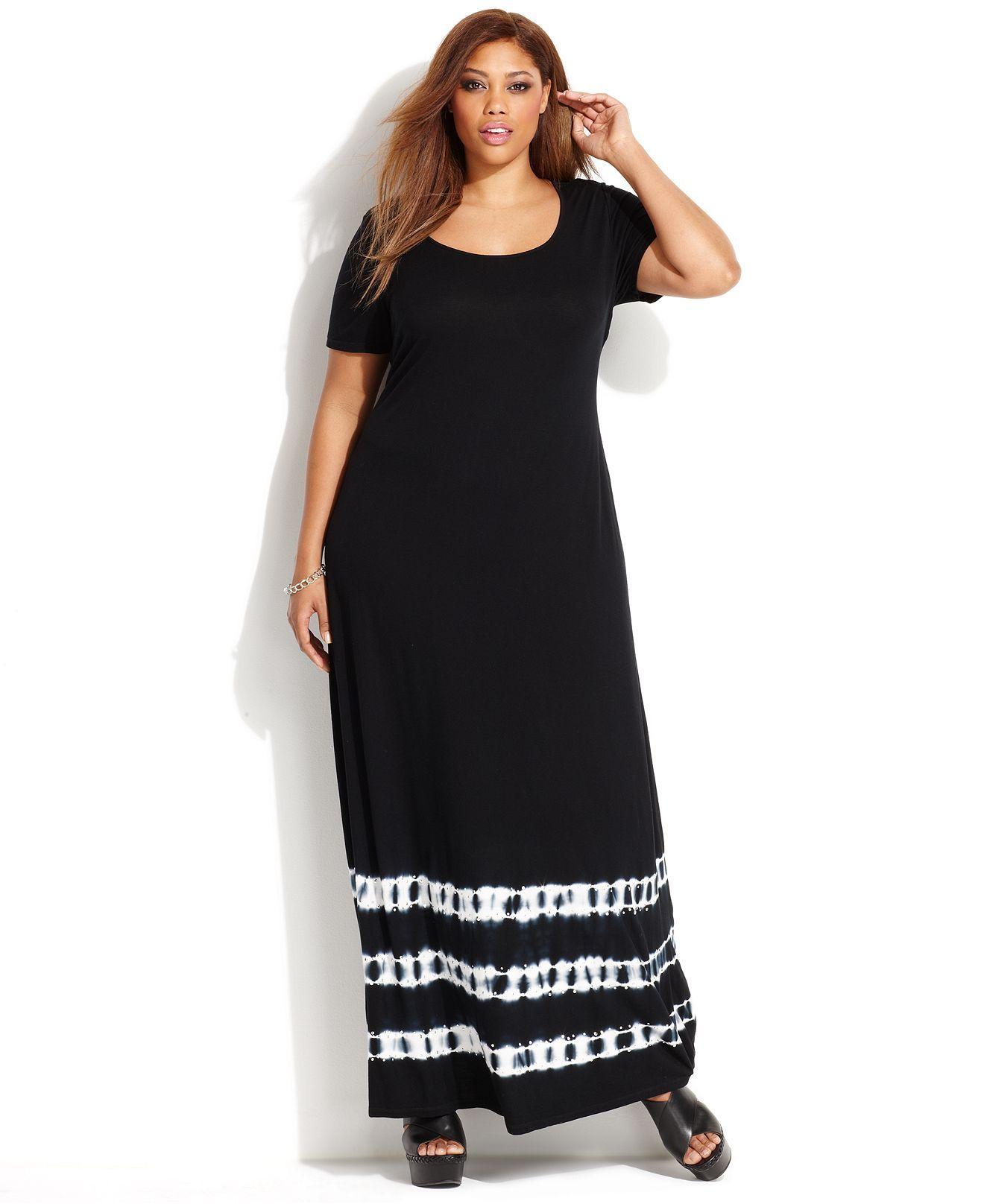 c03f9f6c4d9 INC International Concepts Plus Size Tie-Dye Maxi T-Shirt Dress - Plus Size  Dresses - Plus Sizes - Macy s