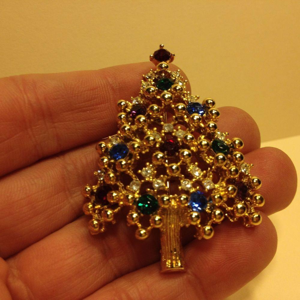 Vintage Signed EISENBERG Lovely Rhinestone CHRISTMAS TREE BROOCH Pin Gold Tone #Eisenberg