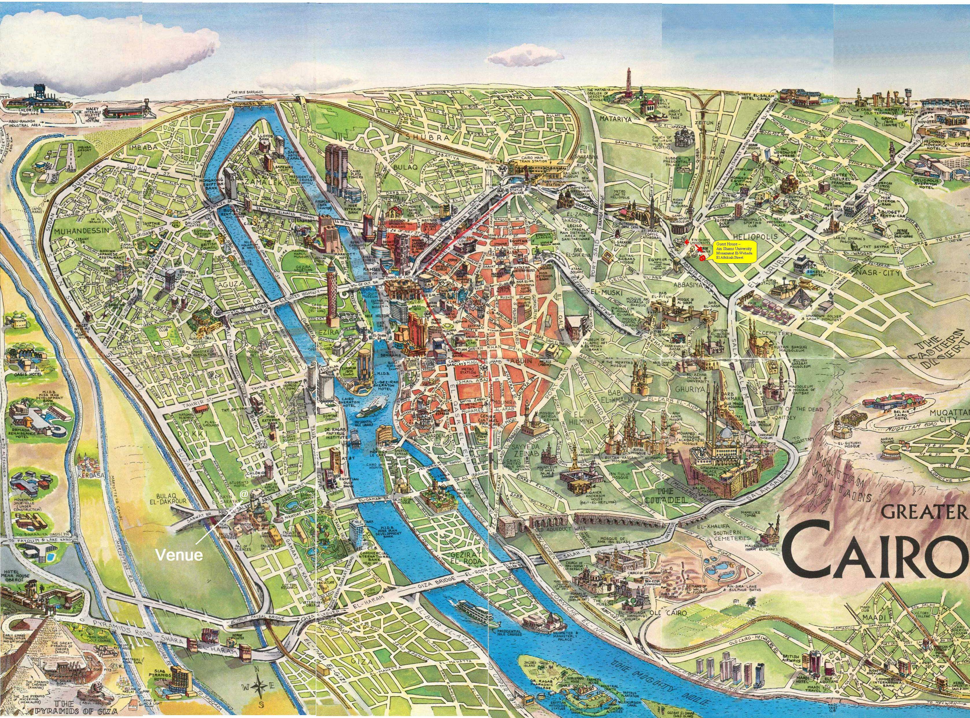Map Cairo 3d Jpg 3355 2484 Cairo Map Egypt Map Cairo