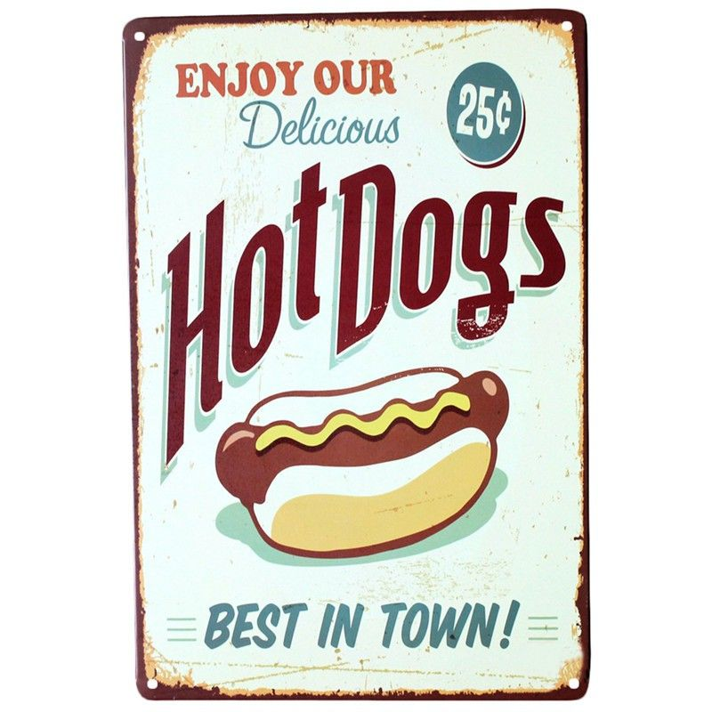 Enjoy Your Hot Dog Retro Tin Poster Vintage Metal Sign Logo Plague
