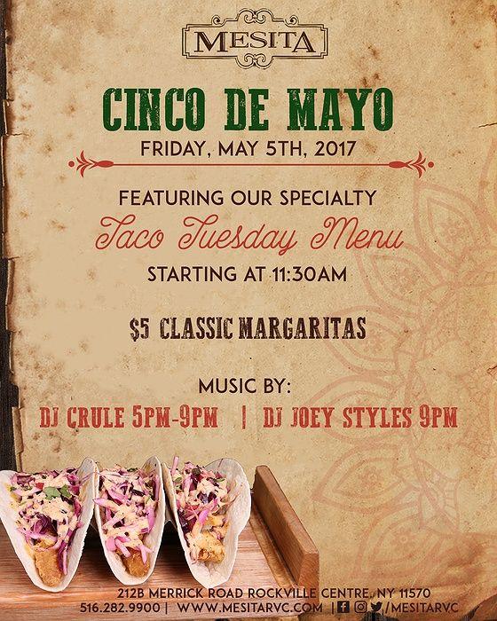 Celebrate Cinco de Mayo at Mesita with our Taco Tuesday