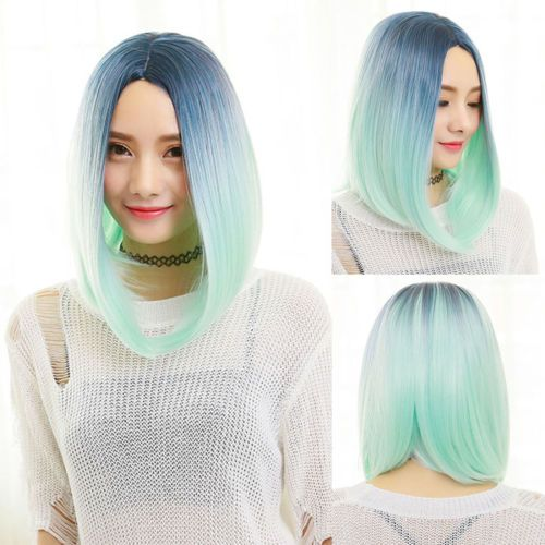 Fashion-Chic-Mint-Green-Gradient-Hair-Women-039-s-Fluffy-Synthetic-Full-Wig-Cosplay