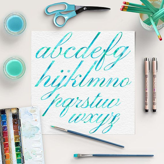Watercolor Alphabet Clipart -  http://etsy.me/2apK5cw High quality watercolor digital letters (lower case) and 10 numbers in mint / teal color.