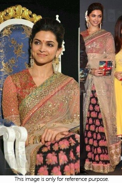 820f0a4dd38888 Bollywood Actress Deepika Padukone Net and Georgette Saree in Cream and  black color