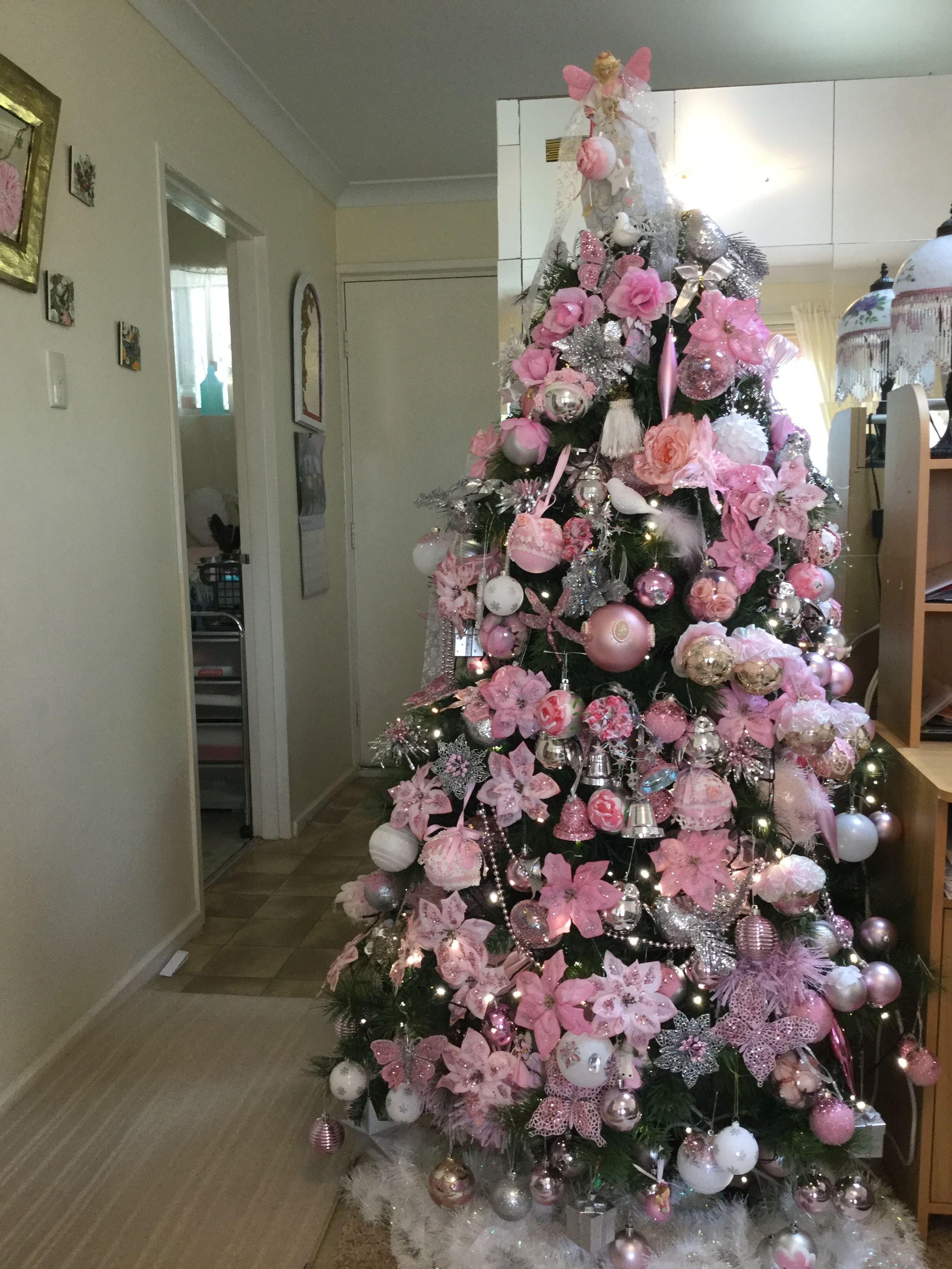 Pink White Silver Pink Xmas Christmas Decor Diy Pink Christmas