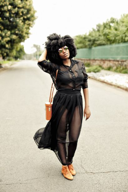 Quirky Stylista goes sheer with a black chiffon skirt and a black chiffon blouse: http://www.glamour.co.za/fashion-celebrity/630689.html?iidx=6#iidx=6