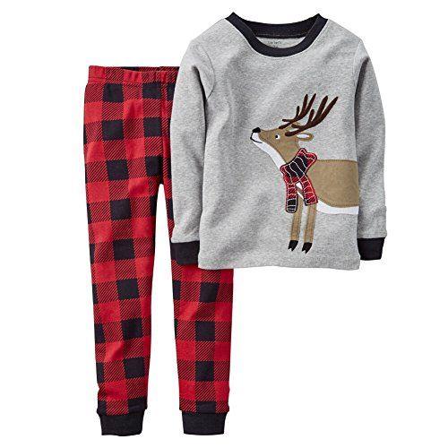 6571cd7f1 Carters Baby Boys 2Piece Snug Fit Cotton PJs Reindeer Plaid 18M ...