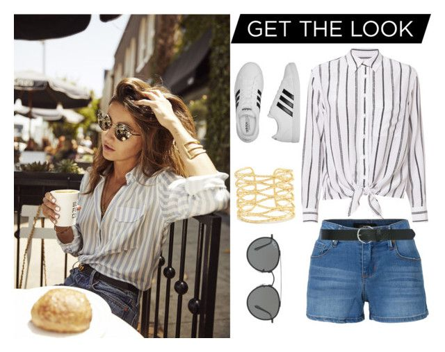 """""""Get the look"""" by a-hidden-secret ❤ liked on Polyvore featuring LE3NO, Equipment, Ray-Ban, M&Co, Kendra Scott and adidas"""