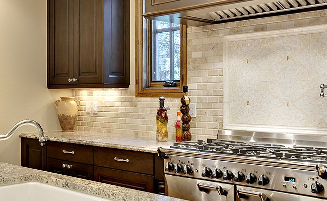 travistene back splash, completed kitchens. | ivory polished bevel edge  subway travertine tile with