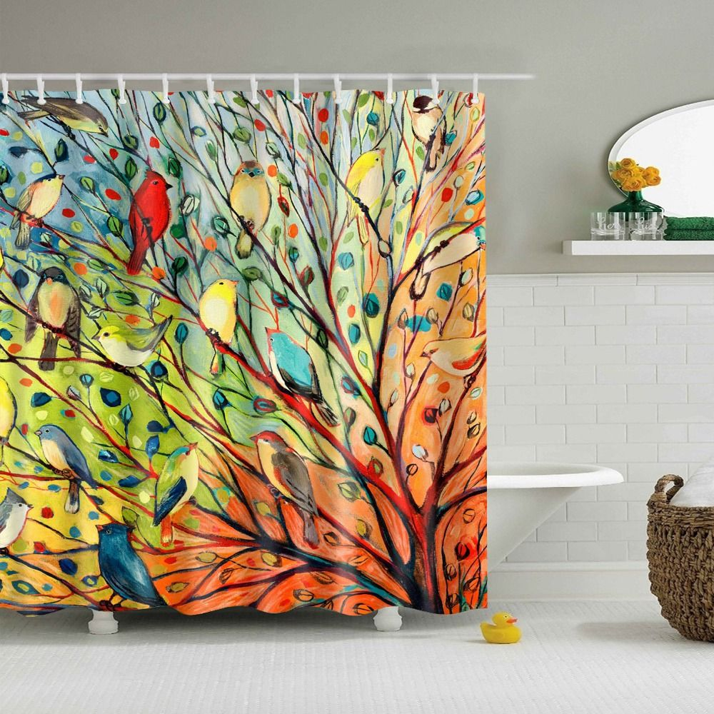 Printed Painting Birds Tree Shower Curtain Rideau Douche Salle De