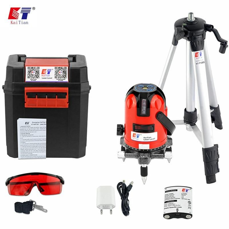 Kaitian Laser Level Tripod 360 Rotary Slash Function With Outdoor 635nm 5 Lines 6 Points Level Eu Self Leveling Livella Laser With Images Rotary Vertical Laser Levels