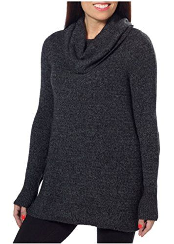 DKNY Jeans Womens Cowl Neck Tunic Pullover Sweater - Slight Hi-low Hem  (Black Heather, XXL) Pullover styling Cowl neck Slight hi-low hem Loose, ...