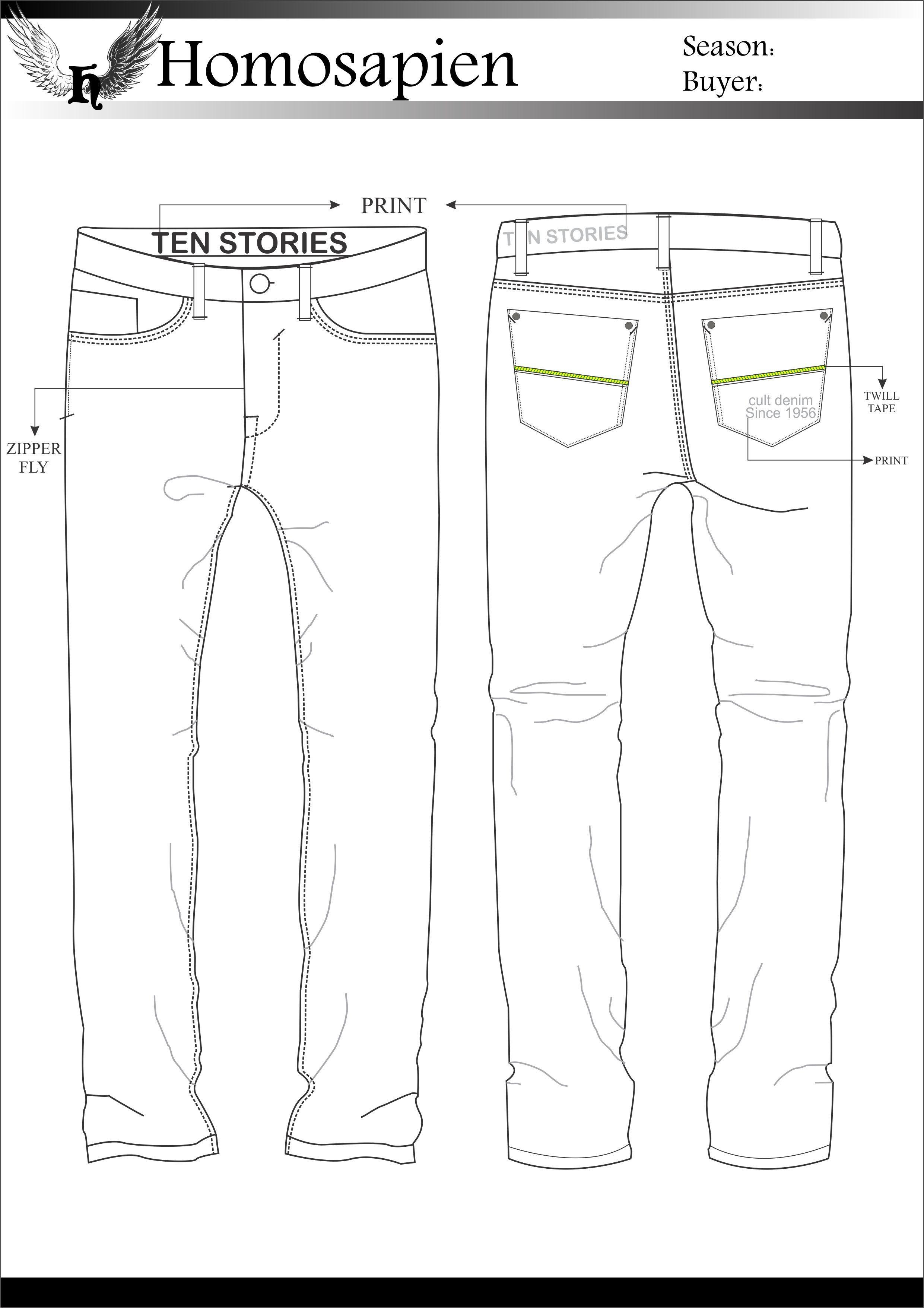 Men's Denim - Flat Sketch | Designer flats in 2019 ...