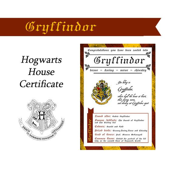 Gryffindor Sorting Hat Certificate Sorting Hat Harry Potter