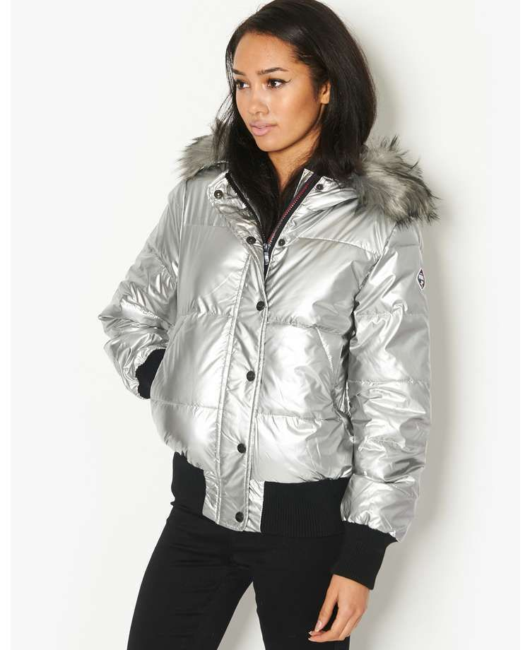 save up to 80% uk availability good quality Puffa Jodie metallic silver bomber jacket faux fur hood ...
