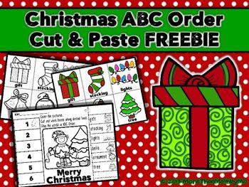 christmas abc order cut and paste printable freebie free teaching. Black Bedroom Furniture Sets. Home Design Ideas