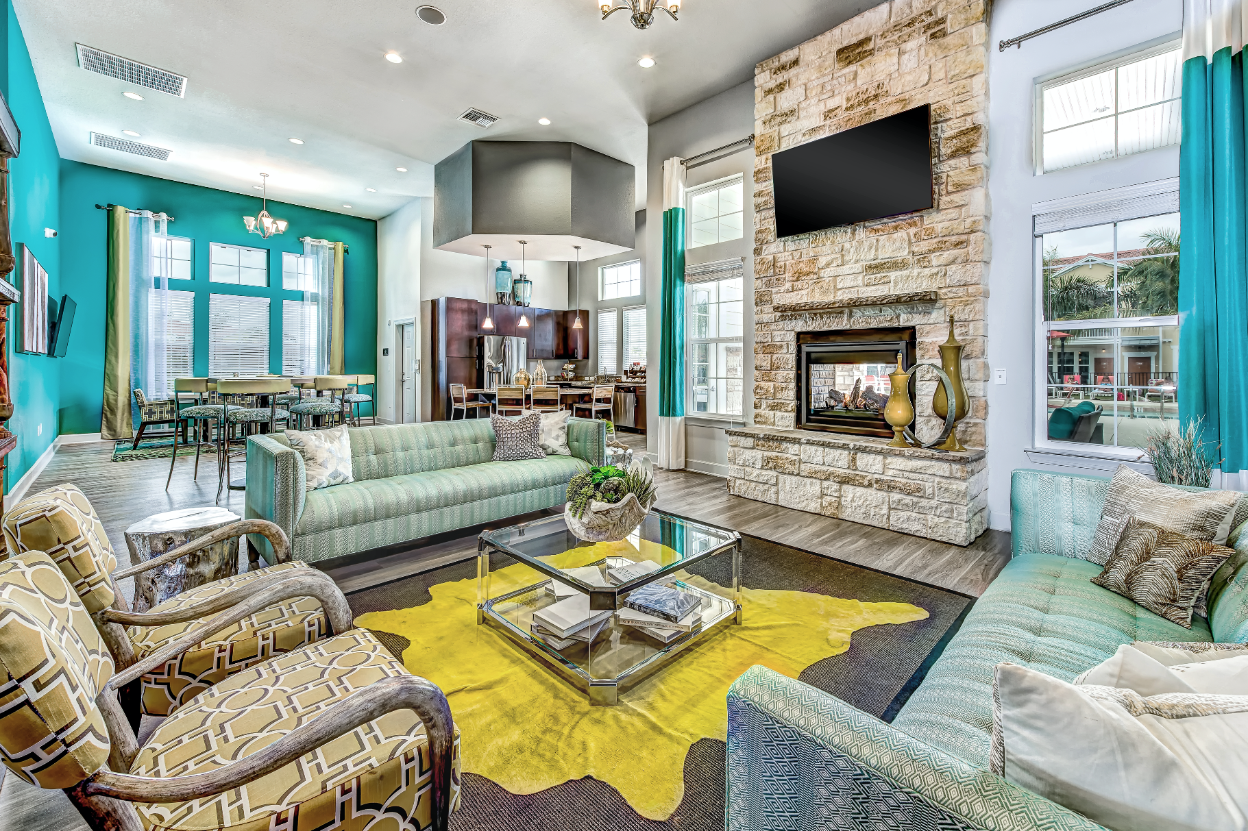 A vibrant and classic clubhouse interior at Longitude 81
