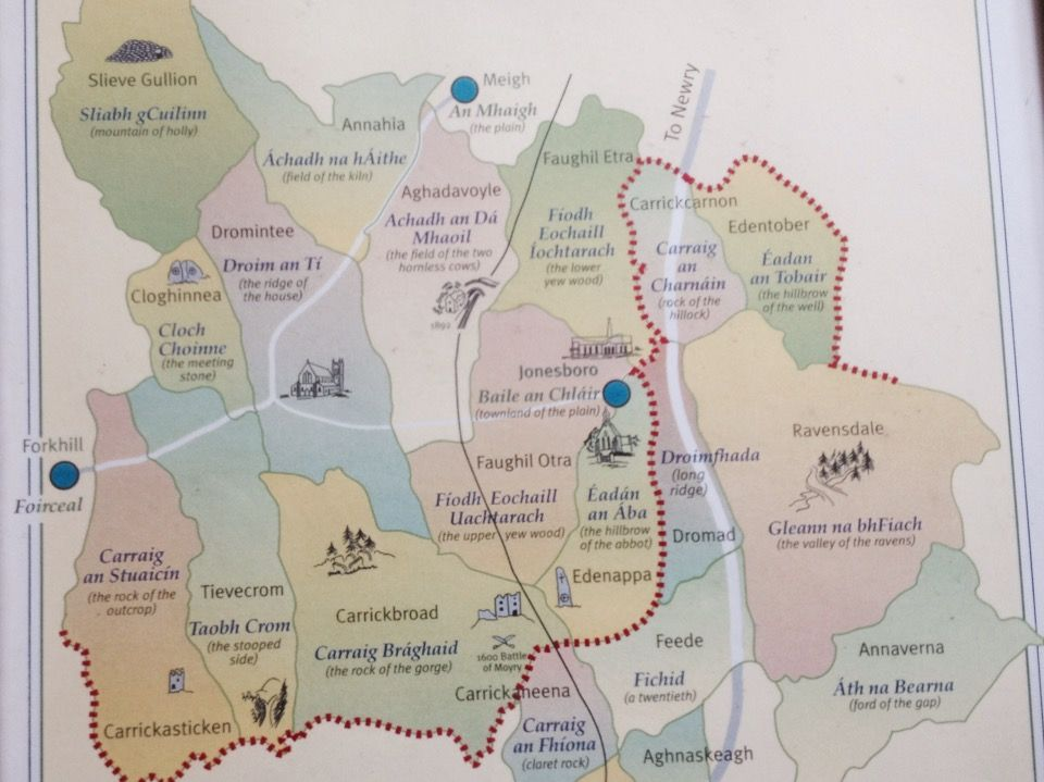 Locally produced map showing townlands in the Dromintee area of