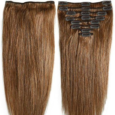 16 Inch 90g Clip In Remy Human Hair Extensions Full Head 8 Pieces