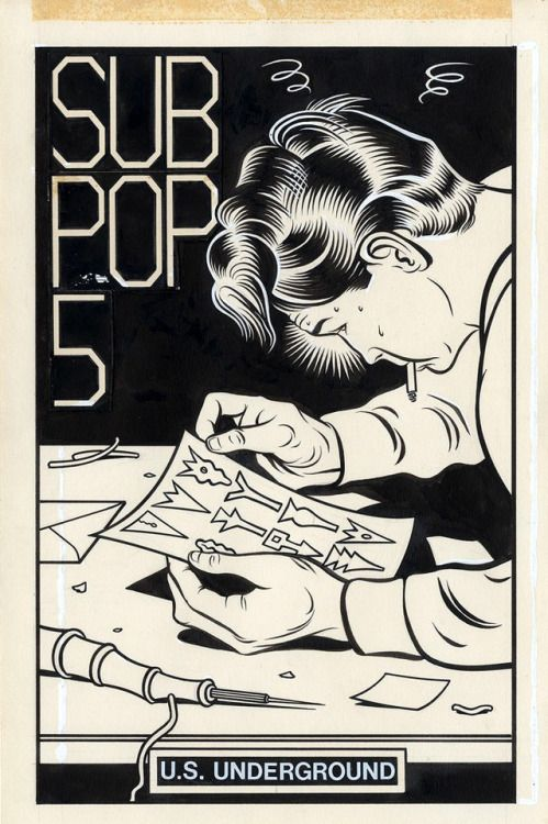 Original cover art by Charles Burns from the cover of the 1981... Original cover art by Charles Burns from the cover of the 1981 Sub Pop cassette fanzine.