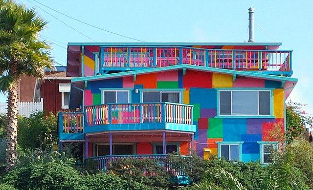 Rainbow House Avila Beach Ca Has Been Repainted In More Mute Colors
