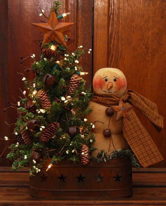 Wonderful Primitive Christmas Craft Ideas Part - 2: Handmade Primitive Snowman