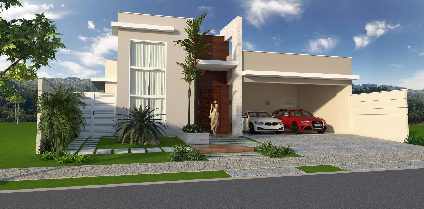 Casa 240m2 alto padrao formato l terrea fachada moderna for Casa moderna l