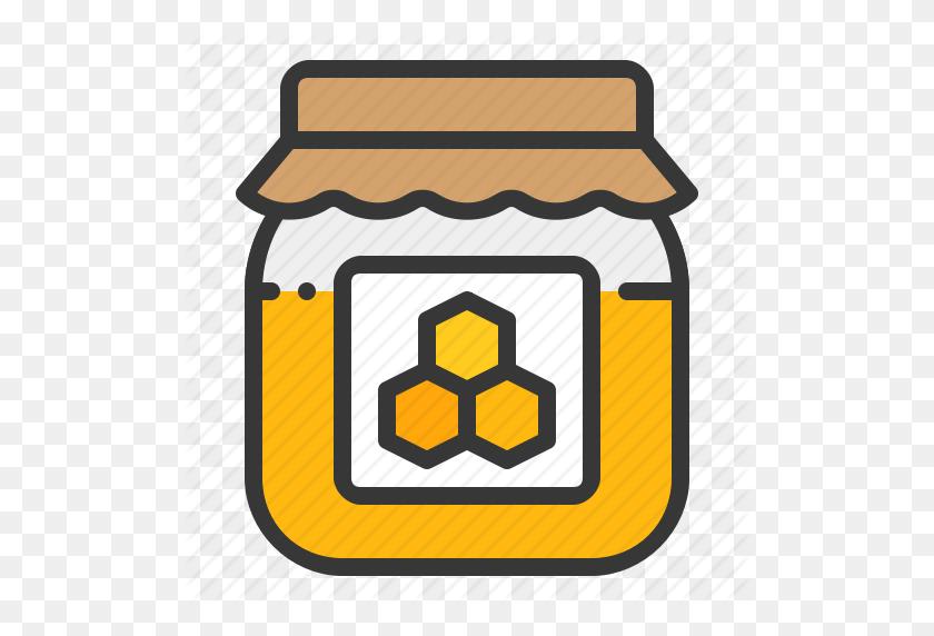 512x512 Bee Farm Honey Honey Jar Jar Sweet Icon Honey Jar Clipart Honey Jar Bee Clip Art