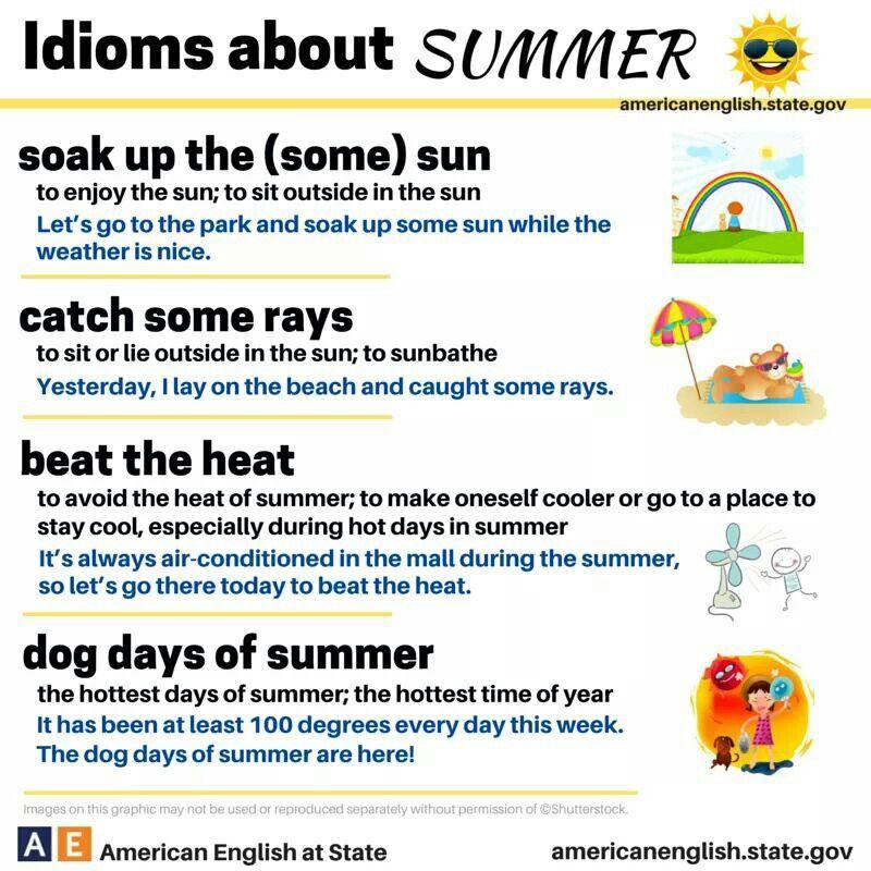 u0026quot idioms about summer u0026quot   ell  eld  esl  u2026
