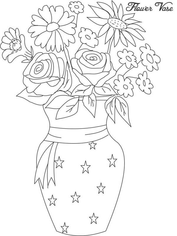 Flower In Vase From Beautiful Flower Bouquet Coloring Page Color Luna In 2020 Flower Vase Drawing Unique Flower Vases Flower Coloring Pages