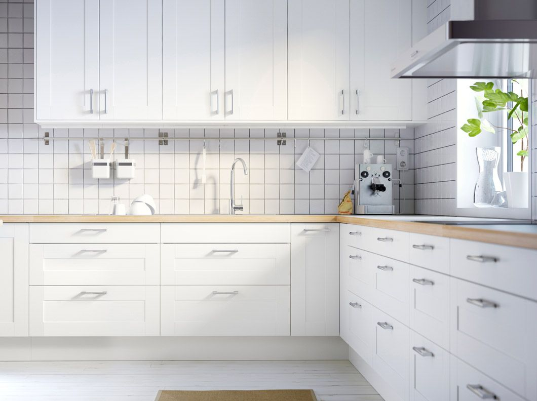 FAKTUM kitchen with ÄDEL off-white doors/drawers and NUMERÄR double ...
