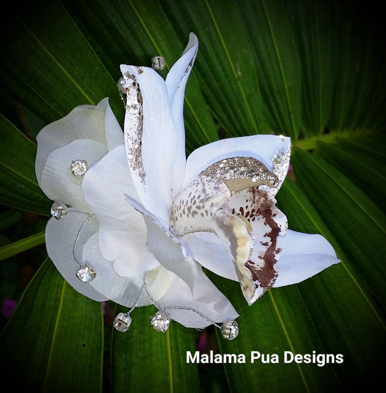 Bridal hair flower hawaiian cattleya orchid tropical hair clip items similar to bridal hair flower hawaiian cattleya orchid tropical hair clip silk flowers wedding accessory flower headpiece crystalsbeach izmirmasajfo