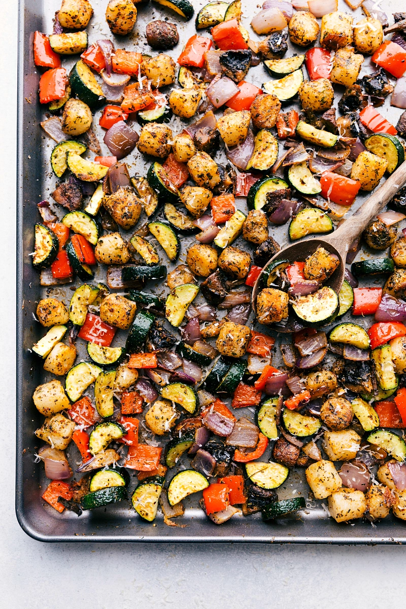 An easy one pan oven baked gnocchi  vegetables with a delicious Italianinspired seasoning mix and optional cilantroherb sauce This dinner is easy healthy and filling This...