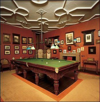Billiard Room With Amazing Ceiling And Beautiful Billiard