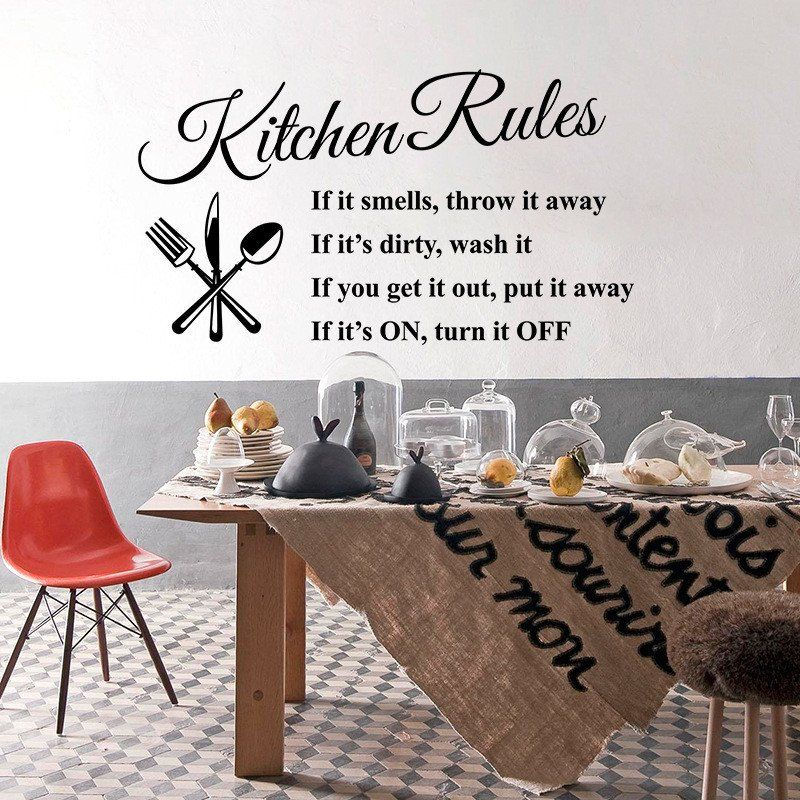 Kitchen Rules Decal Quotes Living Room Kitchen Vinyl Wall Stickers Room Letterin