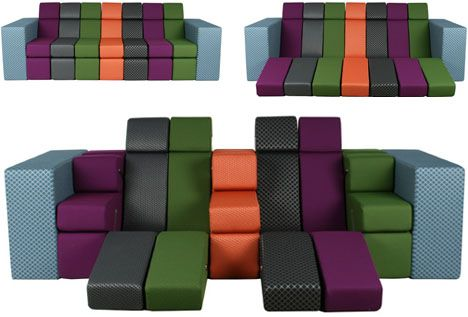 Combo Couch: All-in-One Lounger, Love Seat + Sofa Bed =