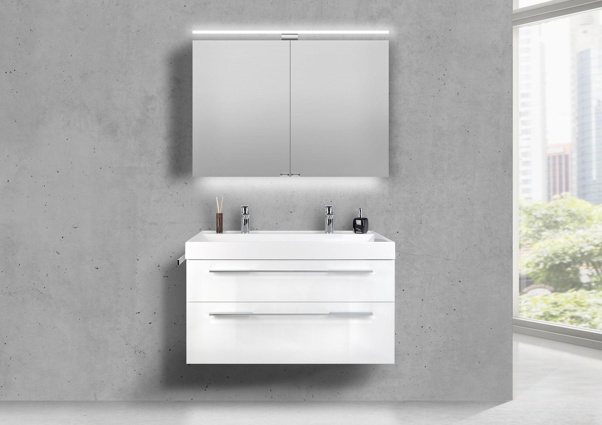 Produktinformationen Doppelwaschtisch 100 Cm Badmobel Set Bella Mit Led Spiegelschrank Spiegelschrank Doppelwaschtisch Badmobel Set
