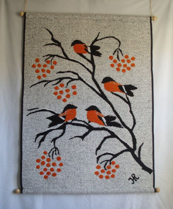 Vintage Finnish Tapestry Wall Hanging Made By Hanhisalon Kutomo Oy Of Finland Winter Berries And Birds Textile Wall Tapestry Tapestry Tapestry Weaving