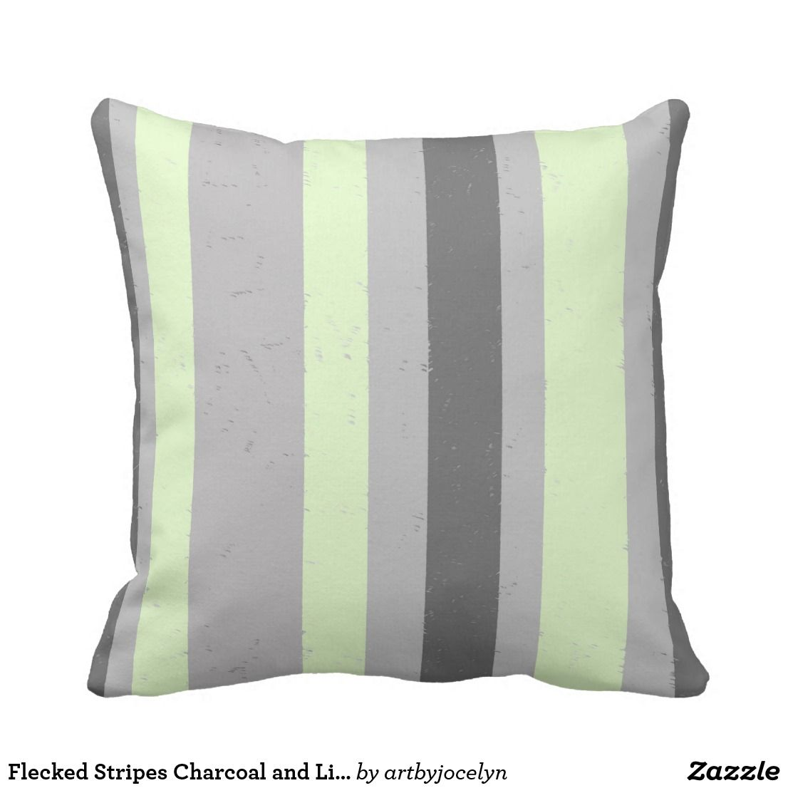 Flecked stripes charcoal and light grey mint green throw pillow in