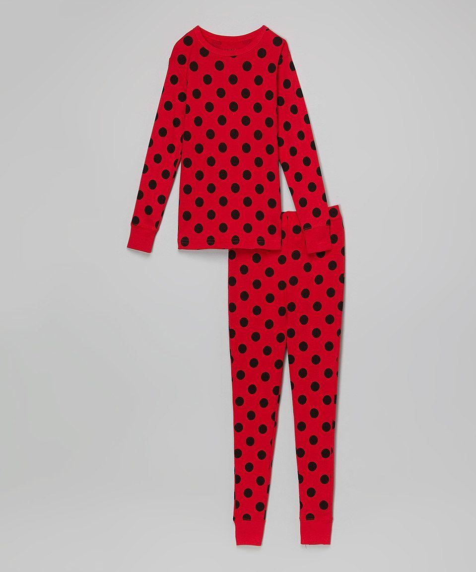 2af23882c Loving this Leveret Red   Black Polka Dot Pajama Set - Infant ...