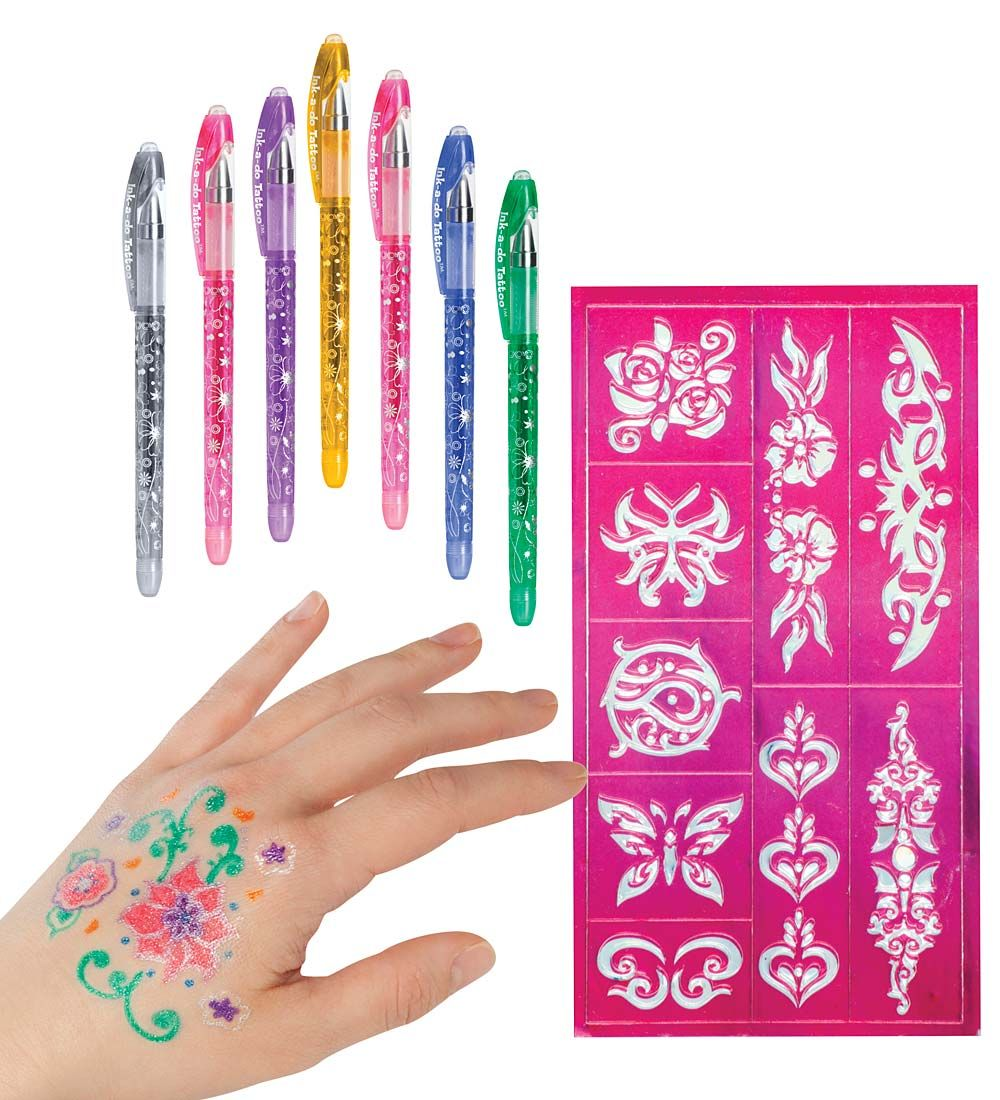 Ink A Doo Glitter Tattoo Pens Set Of 6 With Images Glitter